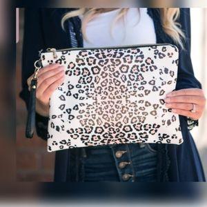 Leather Cheetah Print Clutch w/ Wristlet